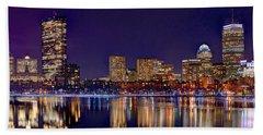 Boston Back Bay Skyline At Night 2017 Color Panorama 1 To 3 Ratio Bath Towel