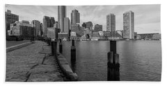 Boston Cityscape From The Seaport District In Black And White Bath Towel