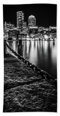 Boston Harbor At Night Hand Towel