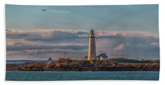 Boston Lighthouse Sunset Bath Towel by Brian MacLean