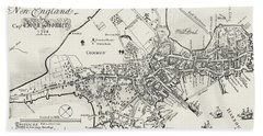 Boston Map, 1722 Hand Towel