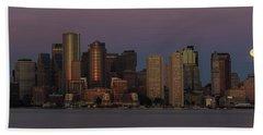 Boston Moonset And Sunrise Hand Towel
