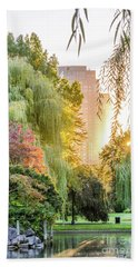 Boston Public Garden Sunrise Bath Towel by Mike Ste Marie