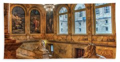 Hand Towel featuring the photograph Boston Public Library Architecture by Joann Vitali