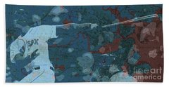Boston Red Sox Player On Boston Harbor Map, Vintage Blue Hand Towel