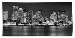 Boston Skyline At Night Panorama Black And White Bath Towel