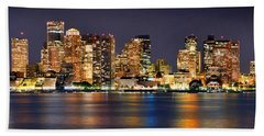 Boston Skyline At Night Panorama Hand Towel