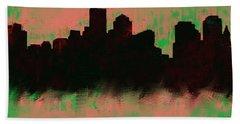Boston Skyline Green  Hand Towel by Enki Art