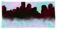Boston Skyline Sky Blue  Hand Towel by Enki Art