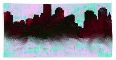 Boston Skyline Sky Blue  Hand Towel