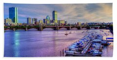 Boston Skyline Sunset Bath Towel by Joann Vitali
