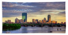 Boston Skyline Sunset Over Back Bay Hand Towel