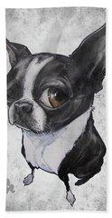 Boston Terrier - Grey Antique Hand Towel