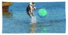 Boston Terrier Jump - Painterly Hand Towel