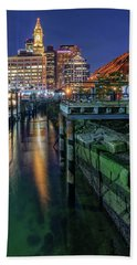 Boston's Custom House Tower From Long Wharf Hand Towel