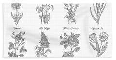 Botanical Flowers Decorative Drawing  Hand Towel