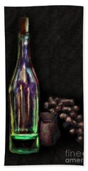 Hand Towel featuring the photograph Bottle And Grapes by Walt Foegelle