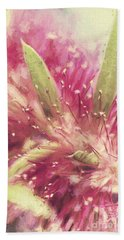 Bottle Brush Flower Species Digital Painting Bath Towel