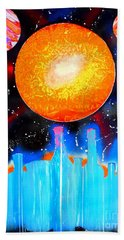 Hand Towel featuring the painting Bottles And A Sun by Justin Moore