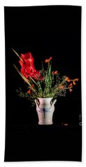 Bouquet In Red Hand Towel by Torbjorn Swenelius