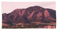 Boulder Colorado Flatirons 1st Light Panorama Bath Towel