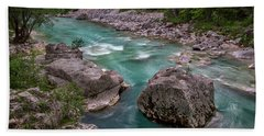Hand Towel featuring the photograph Boulder In The River - Slovenia by Stuart Litoff