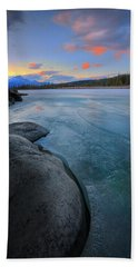 Boulders And Ice On The Athabasca River Bath Towel