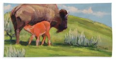 Bouncing Baby Bison Hand Towel