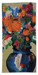 Bouquet-a-day #8 Original Mixed Media Painting On Canvas 70.00 Incl Shipping By Elaine Elliott Bath Towel
