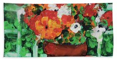 Bouquet A Day Floral Painting Original 59.00 By Elaine Elliott Hand Towel