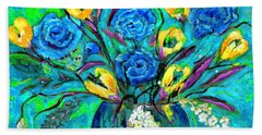 Bouquet In The Spirit Of Vincent Van Gogh By Lisa Kaiser Hand Towel
