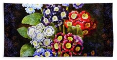 Bath Towel featuring the digital art Bouquet Of Auriculas Redoute by Joy McKenzie