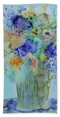 Hand Towel featuring the painting Bouquet Of Blue And Gold by Joanne Smoley