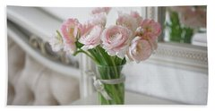 Bouquet Of Delicate Ranunculus And Tulips In Interior Bath Towel