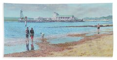 Hand Towel featuring the painting Bournemouth Pier Late Summer Morning by Martin Davey