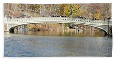 Hand Towel featuring the photograph Bow Bridge With Wedding by Steven Richman