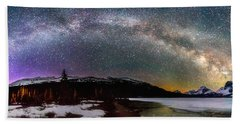 Bath Towel featuring the photograph Bow Lake Pano by Russell Pugh