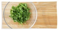 Bowl Of Chopped Parsley Hand Towel