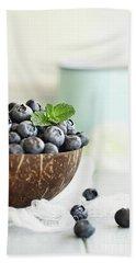 Bowl Of Fresh Blueberries Hand Towel