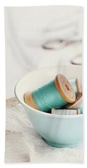 Bowl Of Vintage Spools Of Thread Bath Towel