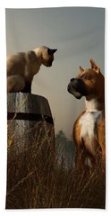 Boxer And Siamese Hand Towel by Daniel Eskridge