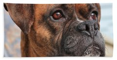 Boxer Portrait Bath Towel by Debbie Stahre