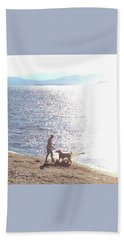 Boy And Dog Hand Towel by Felipe Adan Lerma