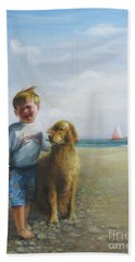 Hand Towel featuring the painting Boy And His Dog At The Beach by Oz Freedgood