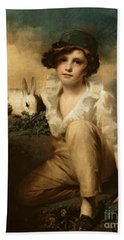 Boy And Rabbit Bath Towel