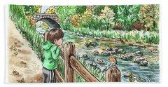Boy At The Creek Hand Towel