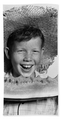 Boy Eating Watermelon, C.1940-50s Bath Towel