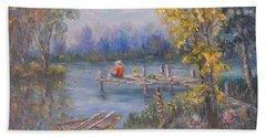 Boy Fishing On Dock And Boat On Lake Hand Towel