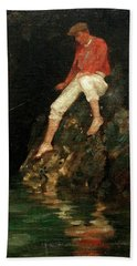Bath Towel featuring the painting Boy Fishing On Rocks  by Henry Scott Tuke