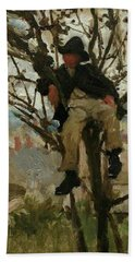 Bath Towel featuring the painting Boy In A Tree by Henry Scott Tuke